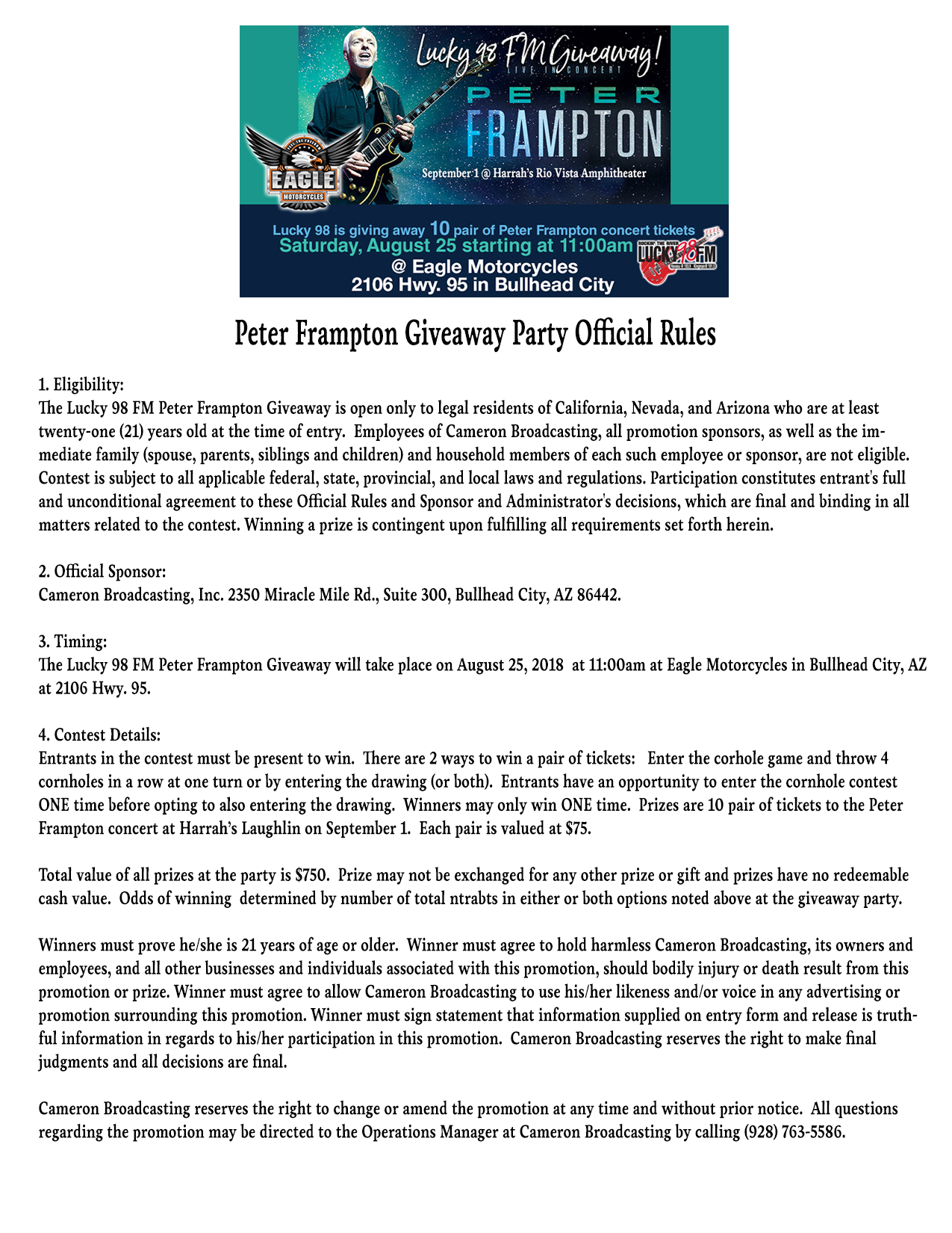 Peter Frampton Giveaway Party Official Rules