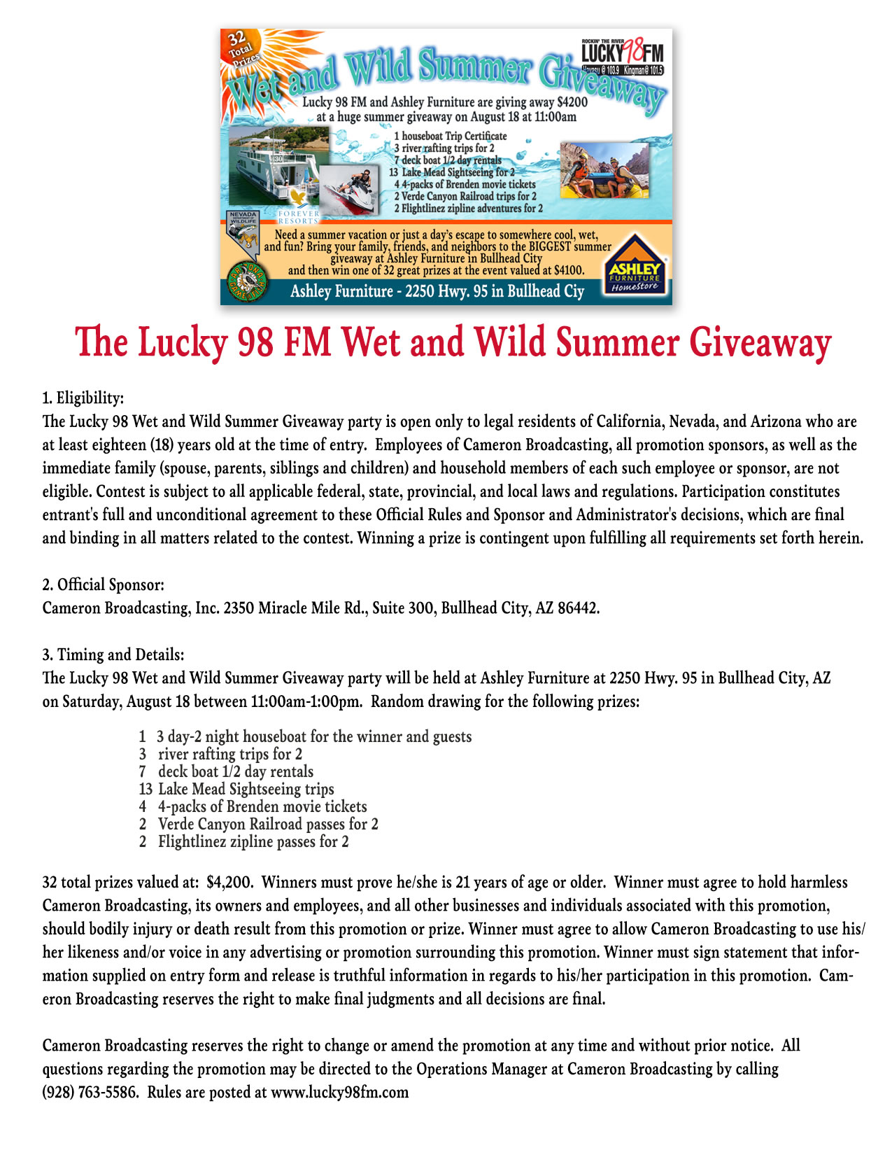 The Lucky 98 FM Wet and Wild Summer Giveaway