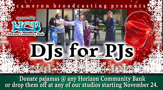 DJs for PJs - Presented by Cameron Broadcasting and Sponsored by Horizon Community Bank